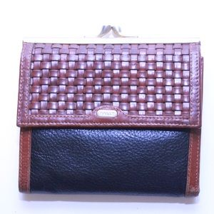 Bally Leather Woven Coin Bag Wallet